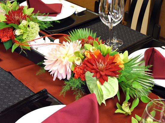 和婚、和装結婚式の会場装花例
